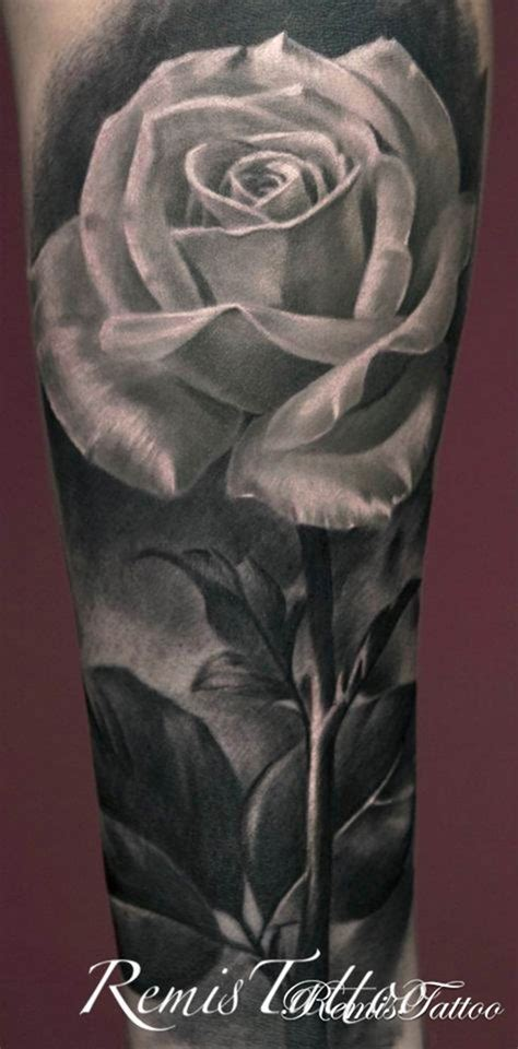 black and grey shaded rose tattoos white remis