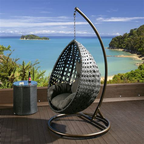 outdoor hanging chair luxury outdoor garden hanging chair black rattan grey