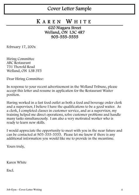 restaurant server cover letter restaurant waiter cover letter for free page 4
