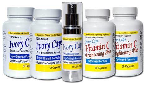Gluta White Vit C ivorycaps skin whitening lightening pill glutathione