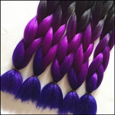 dark purple braiding hair 4 10pcs lot black purple blue ombre kanekalon braiding