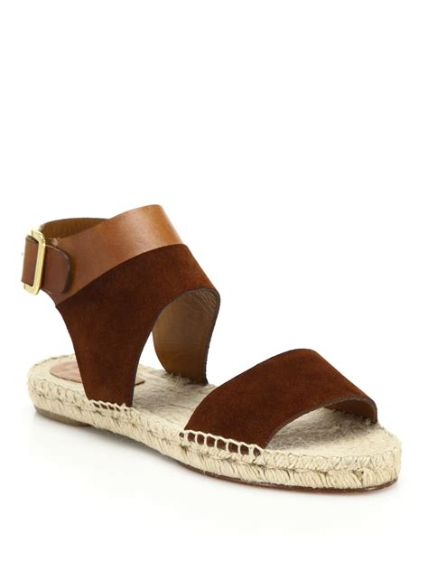 espadrille flat shoes chlo 233 suede leather espadrille flat sandals in brown lyst