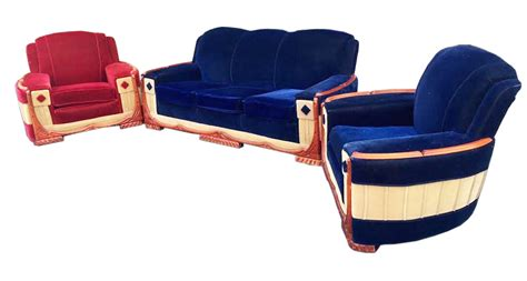 art deco sofa and chairs american art deco pair of club chairs and sofa modernism