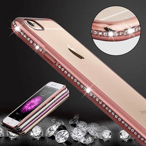 Iphone 6 Plus Luxury Bling Gold Casing Cover Bumper luxury bling frame transparent tpu for iphone 6 6s 4 7 plus 5 5 7 7 plus soft