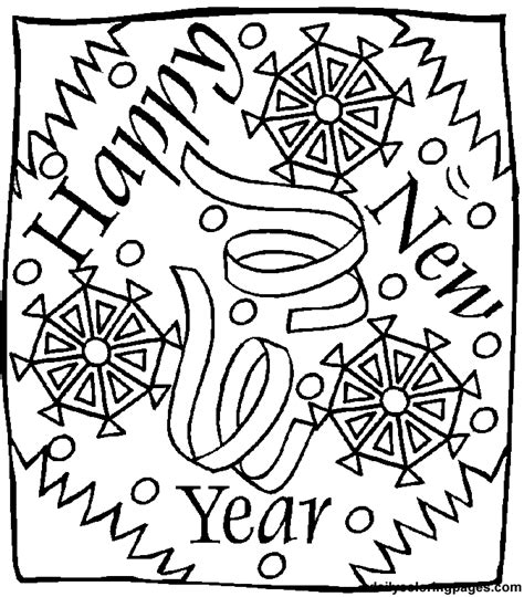 Free New Year S Day Coloring Pages New Years Colouring Pages