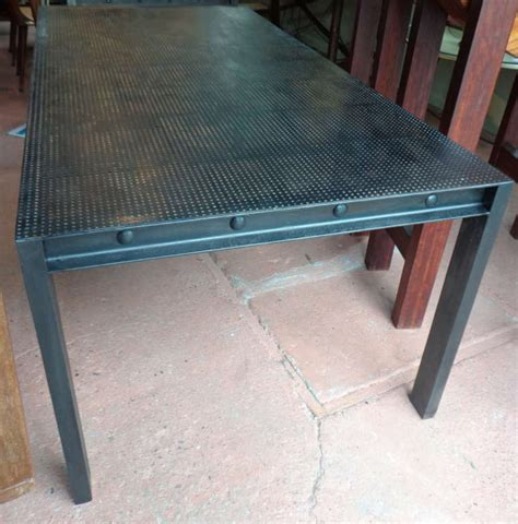 metal top tables dining steel parsons dining table with perforated metal top at