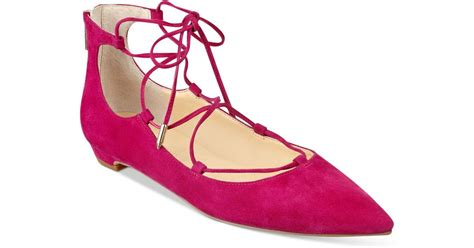 ivanka pink shoes ivanka tropica lace up flats in pink lyst