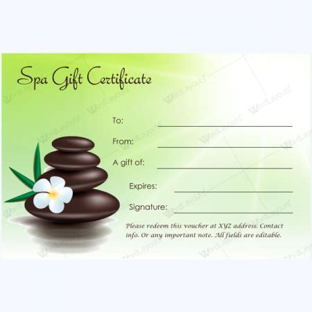 printable gift certificate spa spa gift certificate templates 100 spa and saloon designs
