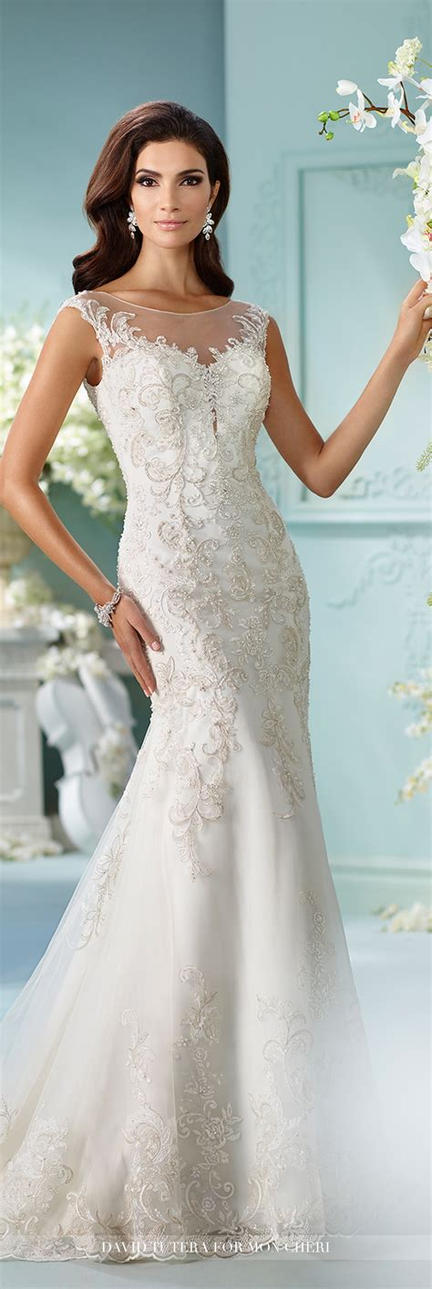 Wedding Dresses by Metallic Embroidered Venise Lace Fit Flare Wedding Dress