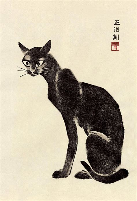 Home Decor Wall Posters japanese animal art black cat woodblock print