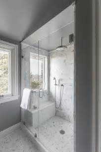 Bath Room Shower walk in shower window seat bench carrera marble shower floor gray