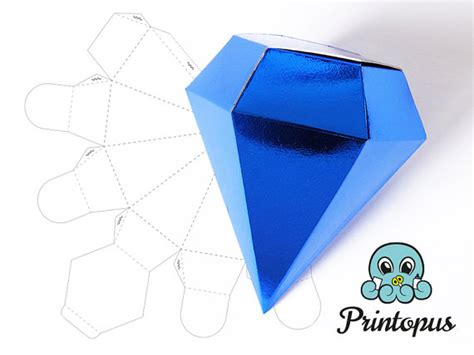 templates boxes for favors gifts diamond shape printable gift box template pdf digital file
