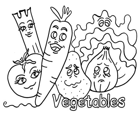 coloring pages vegetables preschoolers vegetable coloring pages 1