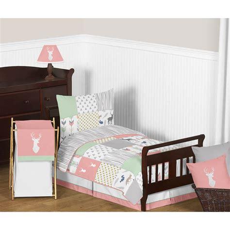 sweet jojo designs woodsy  piece toddler bedding set