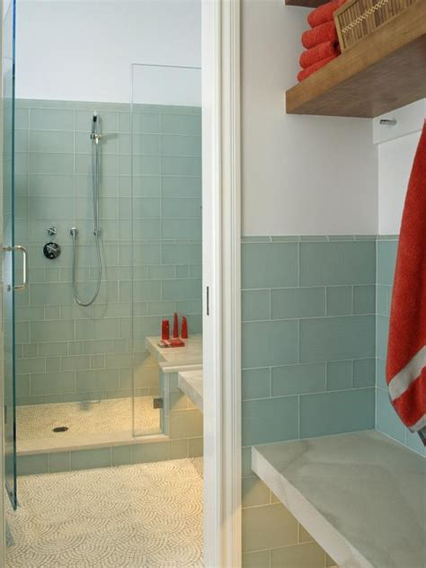 what type of tile is best for bathrooms blue tiled glass shower with red accents hgtv