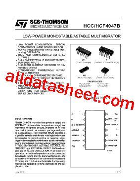 Kr04392 Hcf 4047 Monostable Astable Multivibrator 1 hcf4047bm1 datasheet pdf stmicroelectronics