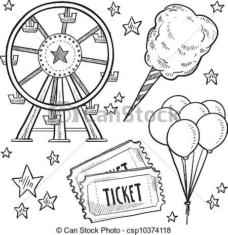 item doodle draw vector clip of carnival items sketch doodle style