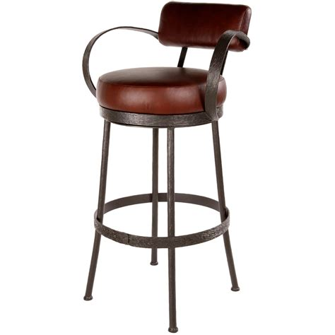 leather bar stools with back and arms furniture black wrought iron swivel bar stools with arms