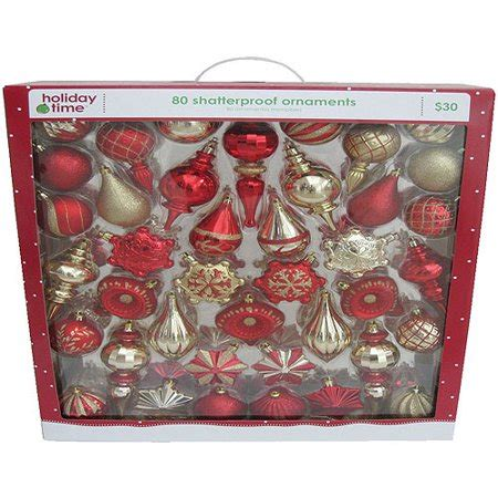 walmart ornaments pack time and gold shatterproof ornaments set of 80 walmart