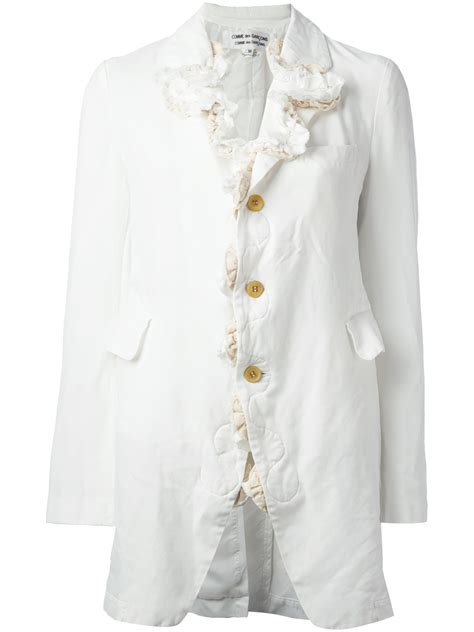 Comme Des Garcons Available At Topshop by Comme Des Gar 231 Ons Ruffled Boxy Jacket In White Lyst