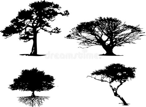 different types of trees stock vector art 635949946 istock 4 different types of tree silhouette stock vector