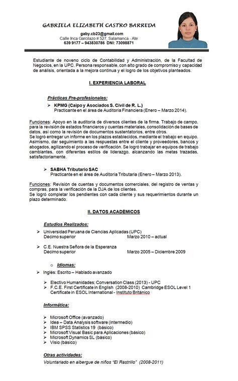 Modelo De Curriculum Vitae En Peru 2014