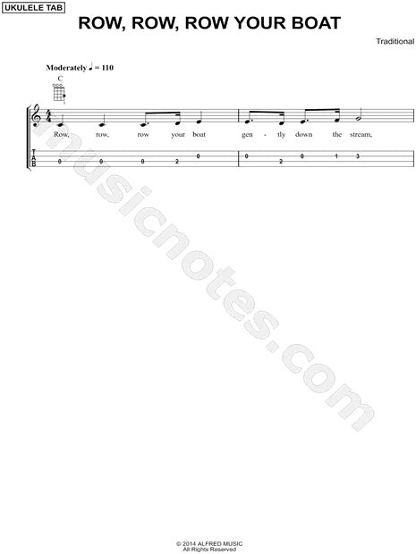 row your boat ukulele tabs traditional quot row row row your boat quot ukulele tab in c