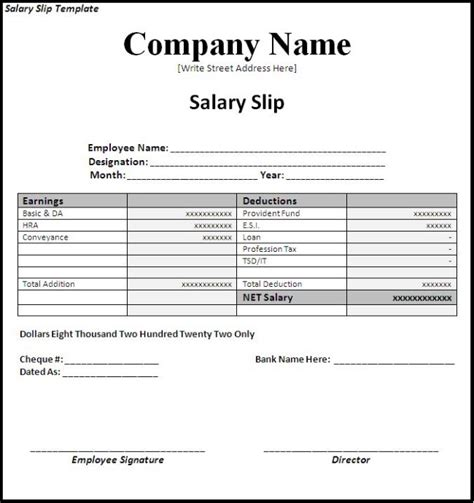 copc table f template simple salary slip template sle with company name and