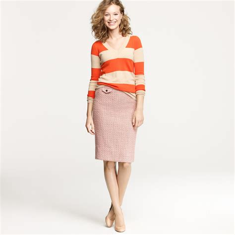 j crew no 2 pencil skirt in vintage tweed in pink blush