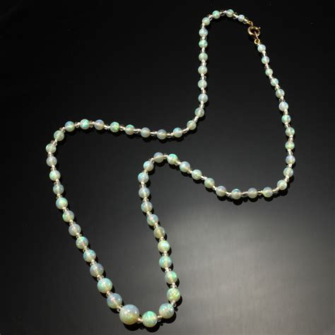 j bead 9ct gold graduated opal bead necklet d j massey