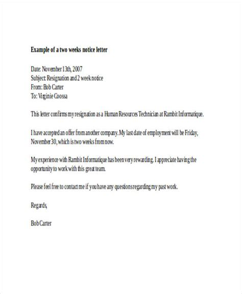 19 two weeks notice letter exles sles