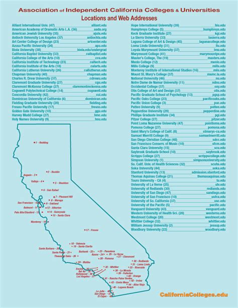 california map of colleges map of colleges and universities in california