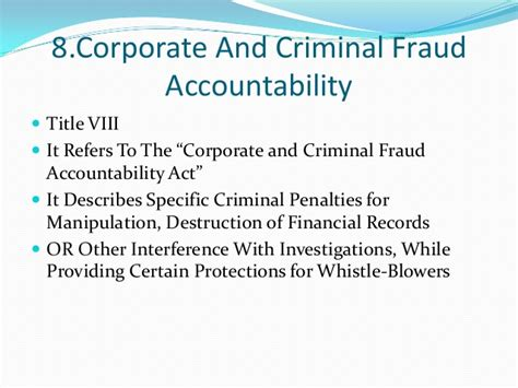 section 8 fraud penalties sarbanes oxley act 2002