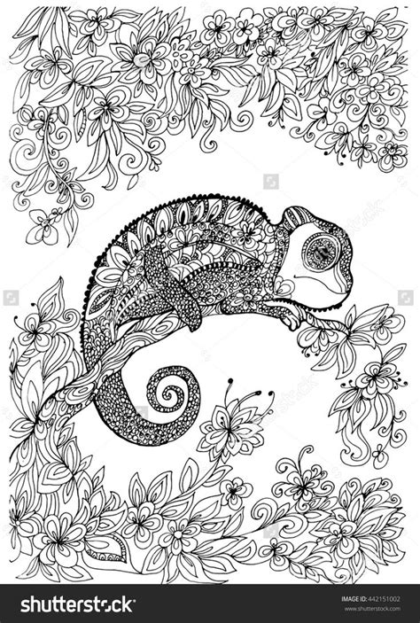 chameleon   tree coloring page shutterstock