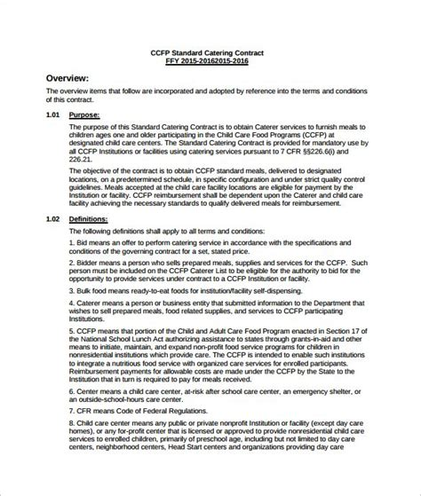 catering agreement template catering contract template 13 download