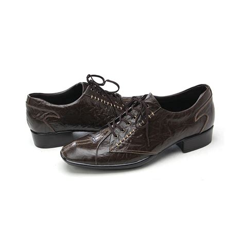 mens unique stitch wrinkles brown cow leather sneakers