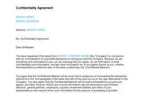 confidentiality agreement letter template bizorb