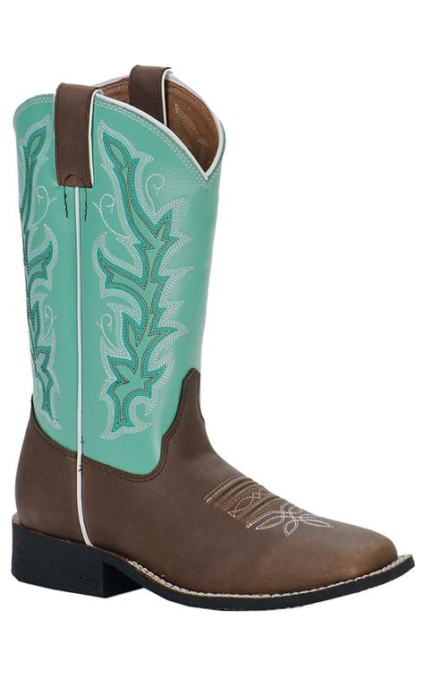 justin square toe boots justin youth chocolate brown w sea green top square toe