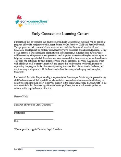 consent letter for child observation release consent forms early connections learning center