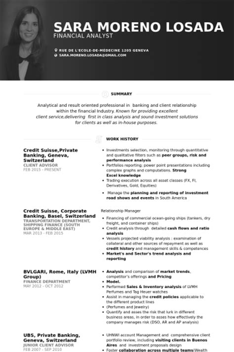 cv layout switzerland banking resume sles visualcv resume sles database