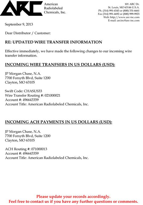 Wire Transfer Letter Format Click Here To View Wire Transfer And Ach Payment Information For Images Frompo