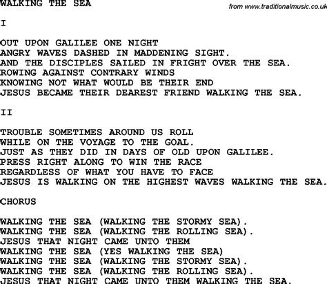 walking the song country southern and bluegrass gospel song walking the sea lyrics