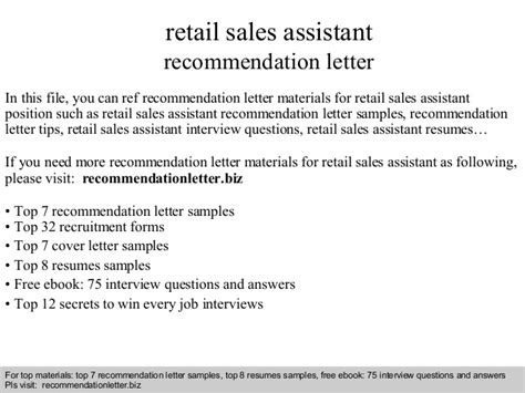 Recommendation Letter For Retail Retail Sales Assistant Recommendation Letter
