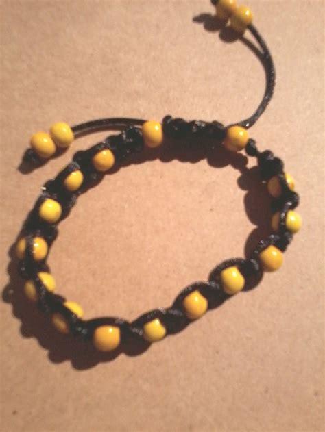 Handmade Macrame Bracelets - black and yellow handmade macrame bracelet by