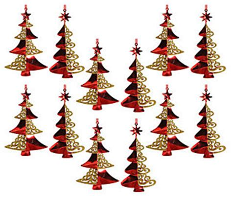 set of 12 6 red golden christmas tree ornaments by