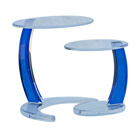 Blue Side Table Blue Acrylic Circular Nesting Side Tables Ebay