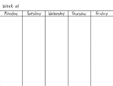 printable calendar weekdays only work week blank calendar calendar template 2016