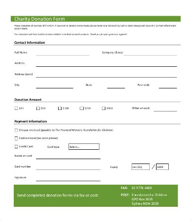 donation form template 8 free word pdf documents
