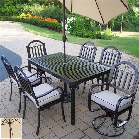 Shop Oakland Living 7 Piece Cushioned Wrought Iron Patio Wrought Iron Patio Dining Set