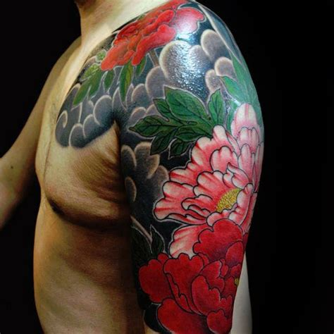 half sleeve flower tattoo designs for men 100 peony designs for flower ink ideas